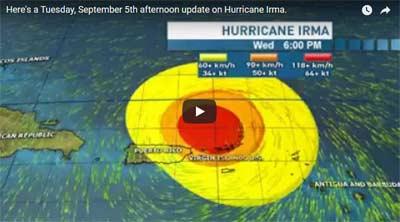 MONSTER! CAT 5 – 180 MPH WINDS – UPDATE On Hurricane IRMA September 5, 2017 – 11 A.M. CDT